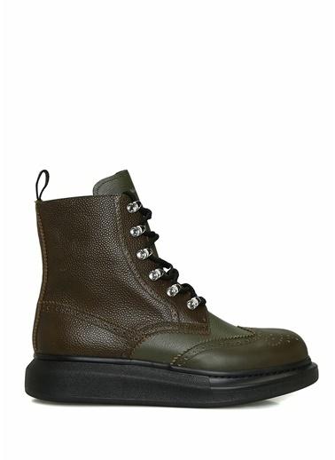 Alexander McQueen Alexander McQueen  Logolu Erkek Deri Sneaker 101639375 Yeşil